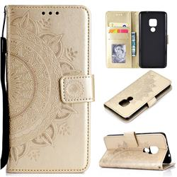 Intricate Embossing Datura Leather Wallet Case for Huawei Mate 20 - Golden