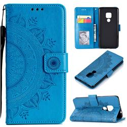 Intricate Embossing Datura Leather Wallet Case for Huawei Mate 20 - Blue