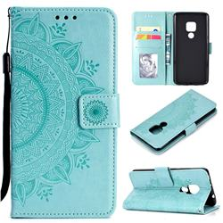 Intricate Embossing Datura Leather Wallet Case for Huawei Mate 20 - Mint Green
