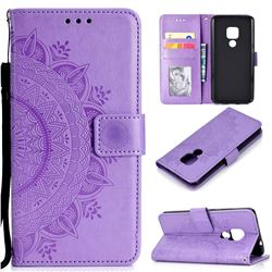 Intricate Embossing Datura Leather Wallet Case for Huawei Mate 20 - Purple