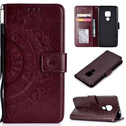 Intricate Embossing Datura Leather Wallet Case for Huawei Mate 20 - Brown