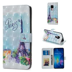 Paris Tower 3D Painted Leather Phone Wallet Case for Huawei Mate 20