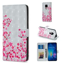 Cherry Blossom 3D Painted Leather Phone Wallet Case for Huawei Mate 20