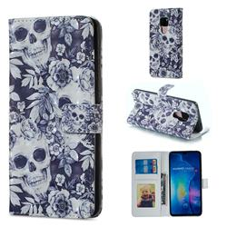 Skull Flower 3D Painted Leather Phone Wallet Case for Huawei Mate 20