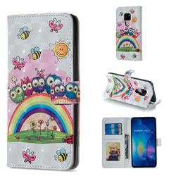 Rainbow Owl Family 3D Painted Leather Phone Wallet Case for Huawei Mate 20