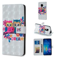 Couple Owl 3D Painted Leather Phone Wallet Case for Huawei Mate 20