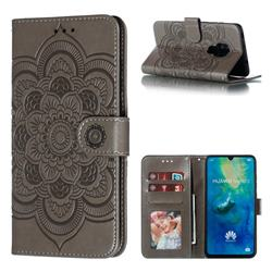 Intricate Embossing Datura Solar Leather Wallet Case for Huawei Mate 20 - Gray