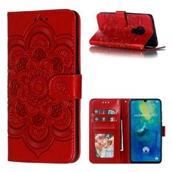 Intricate Embossing Datura Solar Leather Wallet Case for Huawei Mate 20 - Red