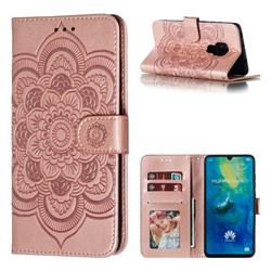 Intricate Embossing Datura Solar Leather Wallet Case for Huawei Mate 20 - Rose Gold