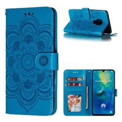 Intricate Embossing Datura Solar Leather Wallet Case for Huawei Mate 20 - Blue