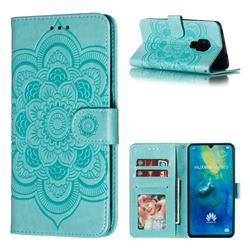 Intricate Embossing Datura Solar Leather Wallet Case for Huawei Mate 20 - Green