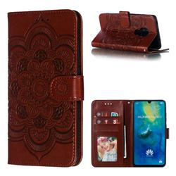 Intricate Embossing Datura Solar Leather Wallet Case for Huawei Mate 20 - Brown