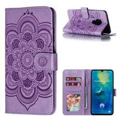 Intricate Embossing Datura Solar Leather Wallet Case for Huawei Mate 20 - Purple