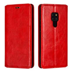 Retro Slim Magnetic Crazy Horse PU Leather Wallet Case for Huawei Mate 20 - Red