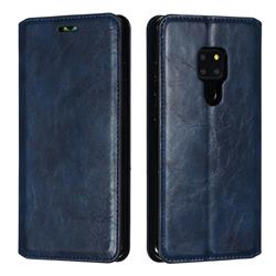 Retro Slim Magnetic Crazy Horse PU Leather Wallet Case for Huawei Mate 20 - Blue