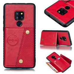 Retro Multifunction Card Slots Stand Leather Coated Phone Back Cover for Huawei Mate 20 - Red