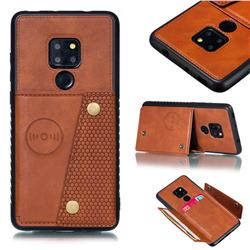 Retro Multifunction Card Slots Stand Leather Coated Phone Back Cover for Huawei Mate 20 - Brown