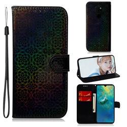 Laser Circle Shining Leather Wallet Phone Case for Huawei Mate 20 - Black
