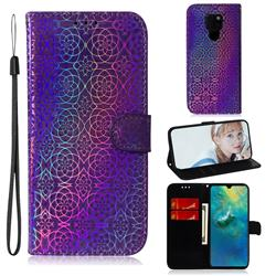 Laser Circle Shining Leather Wallet Phone Case for Huawei Mate 20 - Purple