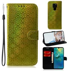Laser Circle Shining Leather Wallet Phone Case for Huawei Mate 20 - Golden