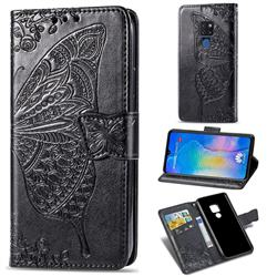 Embossing Mandala Flower Butterfly Leather Wallet Case for Huawei Mate 20 - Black