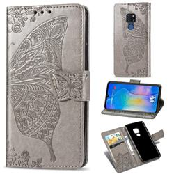 Embossing Mandala Flower Butterfly Leather Wallet Case for Huawei Mate 20 - Gray