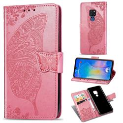 Embossing Mandala Flower Butterfly Leather Wallet Case for Huawei Mate 20 - Pink