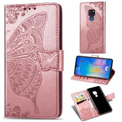 Embossing Mandala Flower Butterfly Leather Wallet Case for Huawei Mate 20 - Rose Gold