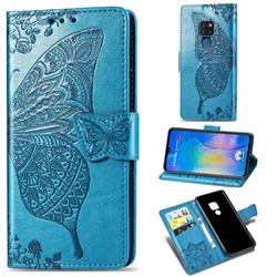 Embossing Mandala Flower Butterfly Leather Wallet Case for Huawei Mate 20 - Blue