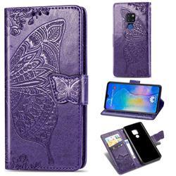 Embossing Mandala Flower Butterfly Leather Wallet Case for Huawei Mate 20 - Dark Purple
