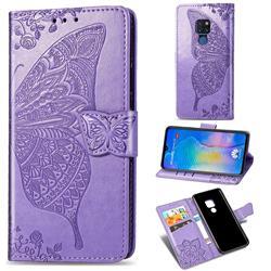 Embossing Mandala Flower Butterfly Leather Wallet Case for Huawei Mate 20 - Light Purple