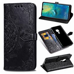 Embossing Imprint Mandala Flower Leather Wallet Case for Huawei Mate 20 - Black