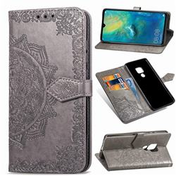 Embossing Imprint Mandala Flower Leather Wallet Case for Huawei Mate 20 - Gray