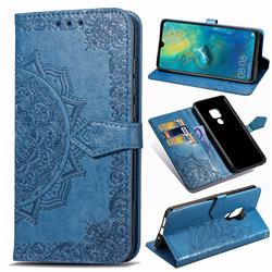 Embossing Imprint Mandala Flower Leather Wallet Case for Huawei Mate 20 - Blue
