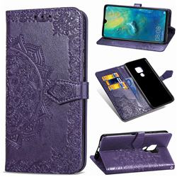Embossing Imprint Mandala Flower Leather Wallet Case for Huawei Mate 20 - Purple