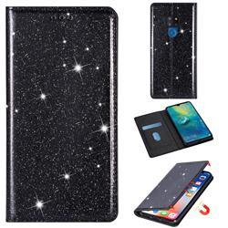 Ultra Slim Glitter Powder Magnetic Automatic Suction Leather Wallet Case for Huawei Mate 20 - Black