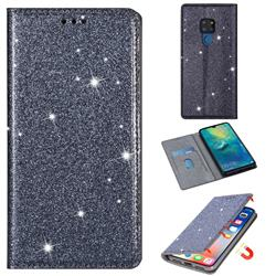 Ultra Slim Glitter Powder Magnetic Automatic Suction Leather Wallet Case for Huawei Mate 20 - Gray