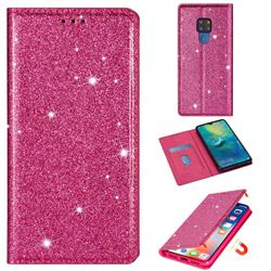 Ultra Slim Glitter Powder Magnetic Automatic Suction Leather Wallet Case for Huawei Mate 20 - Rose Red