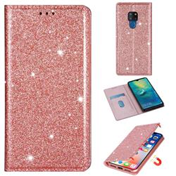 Ultra Slim Glitter Powder Magnetic Automatic Suction Leather Wallet Case for Huawei Mate 20 - Rose Gold