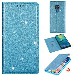 Ultra Slim Glitter Powder Magnetic Automatic Suction Leather Wallet Case for Huawei Mate 20 - Blue