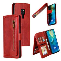 Multifunction 9 Cards Leather Zipper Wallet Phone Case for Huawei Mate 20 - Red