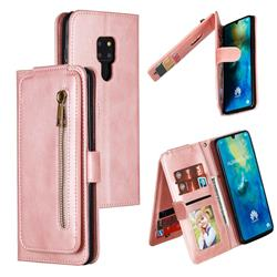 Multifunction 9 Cards Leather Zipper Wallet Phone Case for Huawei Mate 20 - Rose Gold