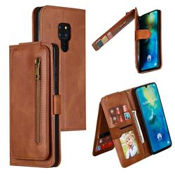 Multifunction 9 Cards Leather Zipper Wallet Phone Case for Huawei Mate 20 - Brown