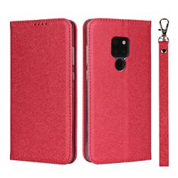 Ultra Slim Magnetic Automatic Suction Silk Lanyard Leather Flip Cover for Huawei Mate 20 - Red