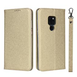 Ultra Slim Magnetic Automatic Suction Silk Lanyard Leather Flip Cover for Huawei Mate 20 - Golden