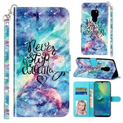 Blue Starry Sky 3D Leather Phone Holster Wallet Case for Huawei Mate 20