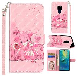Pink Bear 3D Leather Phone Holster Wallet Case for Huawei Mate 20