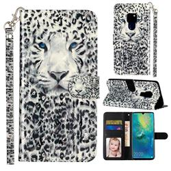 White Leopard 3D Leather Phone Holster Wallet Case for Huawei Mate 20