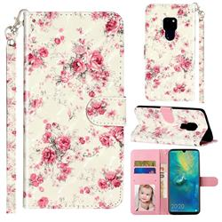 Rambler Rose Flower 3D Leather Phone Holster Wallet Case for Huawei Mate 20