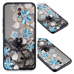 Lilac Lace Diamond Flower Soft TPU Back Cover for Huawei Mate 20 Lite